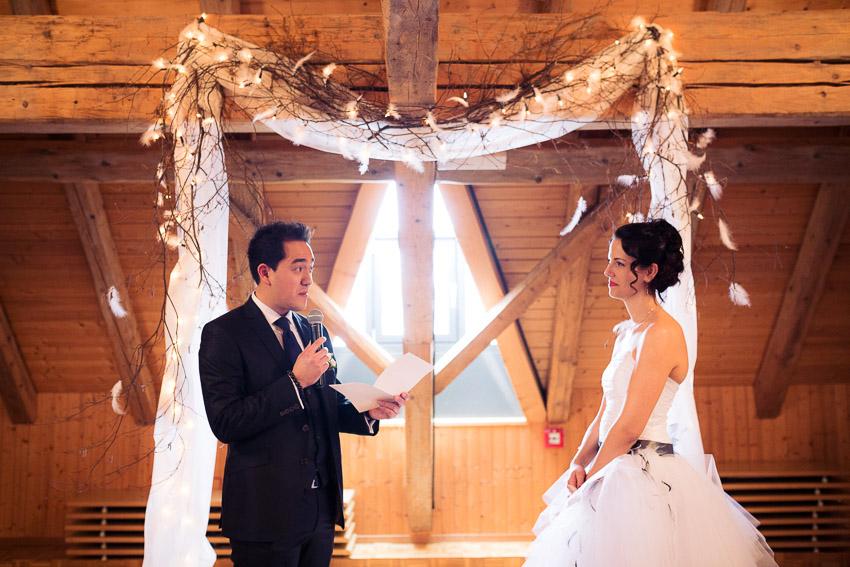Un mariage à la vue des Alpes